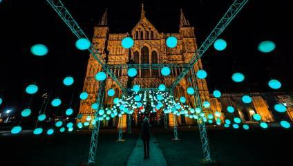 Photograph of Christmas light installation at Salisbury Cathedral