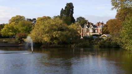 Bletchley Park historic grounds, building and lake