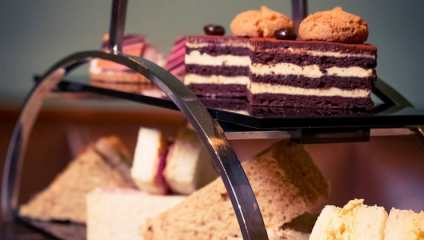 Image of cakes and pastries from the afternoon tea at the Lowry Hotel in Manchester.