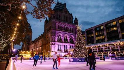 The Natural History Museum Ice Rink at night