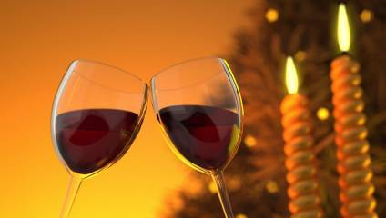 Festive image of two glasses of red wine