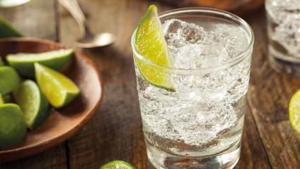 Glass of gin and tonic with a slice of lime from Little Gin Box